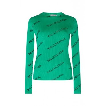 Balenciaga Women Printed Ribbed Stretch-Jersey Top Green Loose Fit