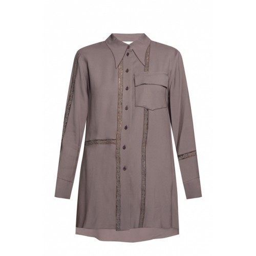Chloé Women Lace-trimmed shirt Breathable Sale Online OOXCXKH