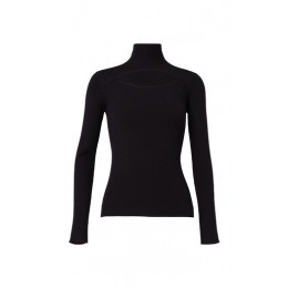 Dorothee Schumacher Women's Tops Open Mind Cutout Ribbed Wool-Blend Turtleneck Top Black Base layer For Sale
