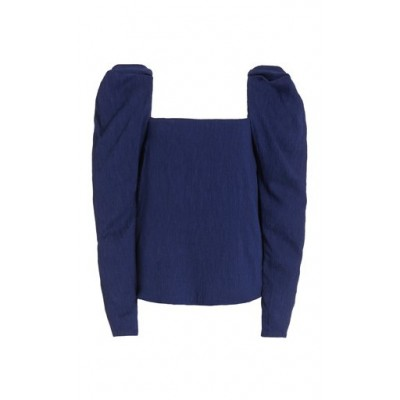 Johanna Ortiz Women Clothing Exclusive Grass Like Sand Puffed-Sleeve Crepe Top Blue Loose Fit