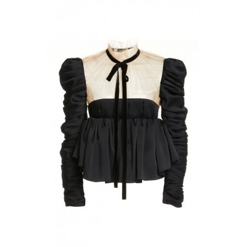 Khaite Girl's Fanny Ruffled Crepe Top Black