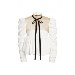 Khaite Women Fanny Ruffled Crepe Top White Loose Fit Brand