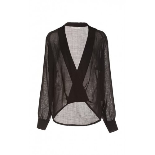 La Collection Girl's Adele Wool Wrap-Front Top Black Sale
