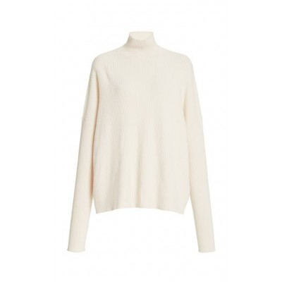 LAPOINTE Tops Boxy Ribbed Turtleneck Sweater White Blouses for Work Unique