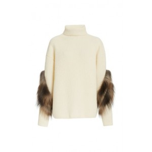 LAPOINTE Women's Fur-Trimmed Oversized Cashmere-Silk Turtleneck Sweater White Breathable High Quality
