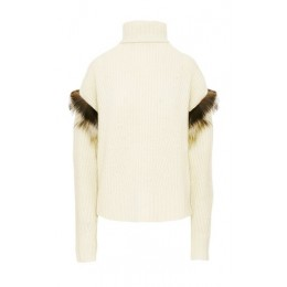 LAPOINTE Women's Tops Fur-Trimmed Ribbed-Knit Cashmere-Silk Turtleneck Sweater White