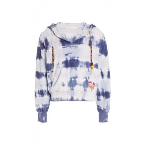 LoveShackFancy Women Tops Kirby Beaded Tie-Dyed Cotton Terry Hoodie Blue Base layer Classic Fit