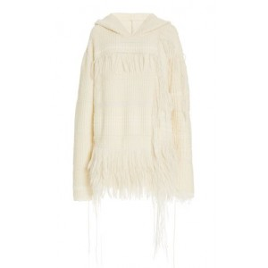 Marina Moscone Women's Baja Fringed Mixed-Knit Cashmere-Silk Hoodie White The Best