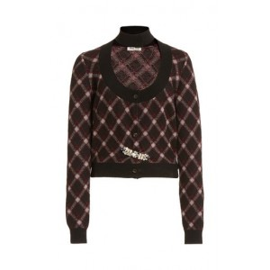 Miu Miu Women's Embellished Cutout Plaid Wool Cropped Cardigan Print Brand