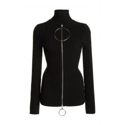 Paco Rabanne Tops Kinetic Ribbed Cotton Top Black Athletic