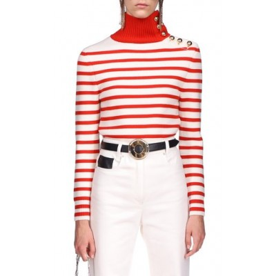 Paco Rabanne Women's Tops Button-Detailed Striped Wool Turtleneck Sweater Stripe Breathable