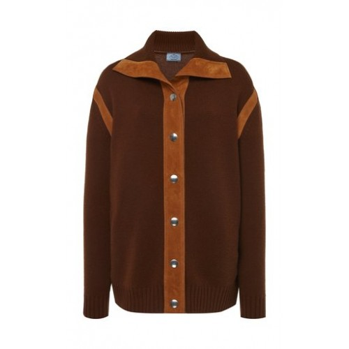 Prada Girl's Tops Cashmere Button Down Top Brown Blouses for Work Brand