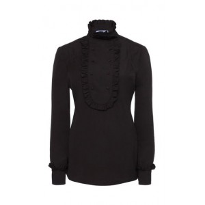 Prada Tops Ribbed Ruffle Front Top Black Blouses for Work Discount
