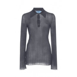 Prada Women Tops Ribbed Knit Cashmere Silk Top Dark grey Athletic Online Sale