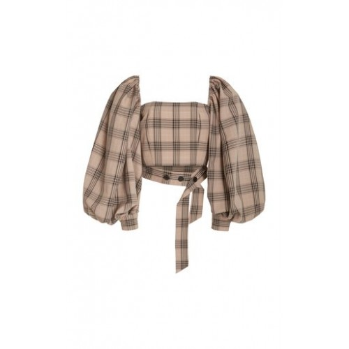 Rokh Girl's Convertible Off-The-Shoulder Plaid Cropped Top Plaid