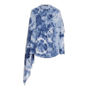 Rokh Women's Clothing Scarf-Accented Tie Dyed Blouse Blue Cheap Online