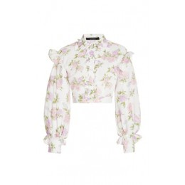 Rokh Women's Tops Ruffled Floral Crepe Cropped Top Floral Blouses for Work Discount