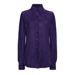 Tom Ford Women's Suede Button-Down Shirt Purple