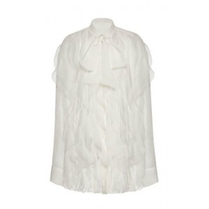 Valentino Girl's Clothing Ruffled Silk Button-Down Shirt White For Sale