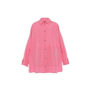 Valentino Girl's Oversized Collared Cotton Blouse Pink Fitness