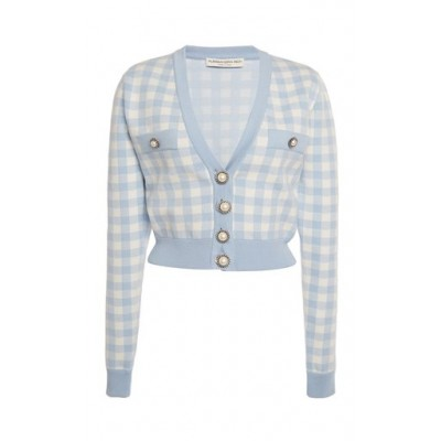 Alessandra Rich Women's Tops Gingham Jacquard-Knit Cropped Cardigan Blue Petite