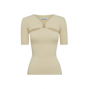 Anna Quan Women's Tops Ary Cutout Ribbed-Knit Cotton Top Neutral