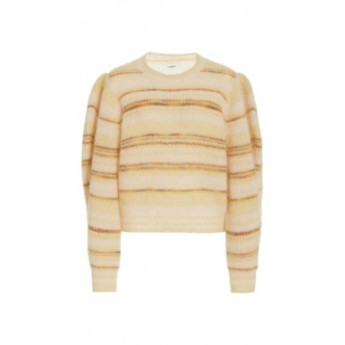 Isabel Marant Étoile Women Tops Eleonore Striped Mohair-Knit Sweater Yellow