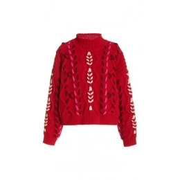Isabel Marant Étoile Women's Clothing Zola Embroidered Cable-Knit Sweater Red