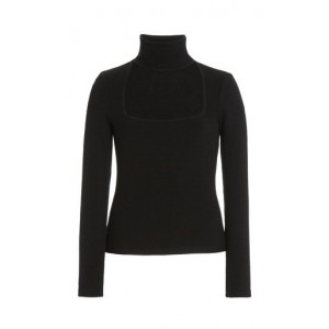 Jonathan Simkhai Janessa Cutout Ribbed-Knit Top Black