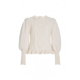 LoveShackFancy Girl's Calantha Embroidered Cable Knit Sweater White Cheap