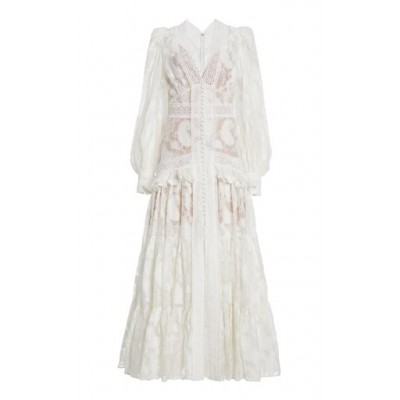 Acler Women Clothing Suffield Ruffled Lace Maxi Dress White Summer Online Shopping