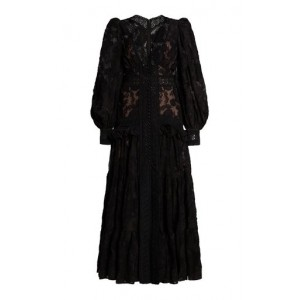 Acler Women Suffield Ruffled Lace Maxi Dress Black Sale Online