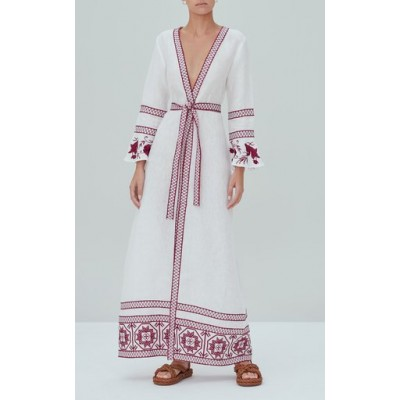 Alexis Women's Tops Mahita Embroidered Linen Maxi Robe Dress Pink Size L Boutique