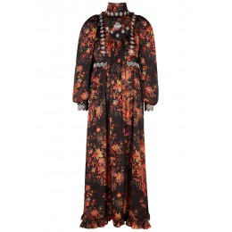Paco Rabanne Tops Floral-print embroidered satin maxi dress SC406906