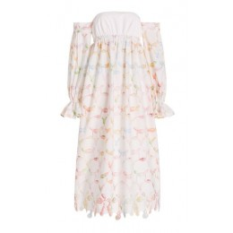Rosie Assoulin Puff-Sleeve Printed Cotton Off-The-Shoulder Maxi Dress White Resort Wear