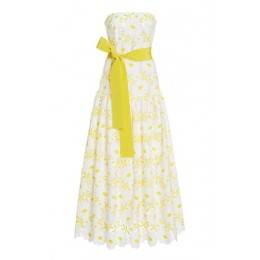 Silvia Tcherassi Women's Clothing Breakers Floral-Embroidered Cotton-Blend Dress Yellow Size L Boutique