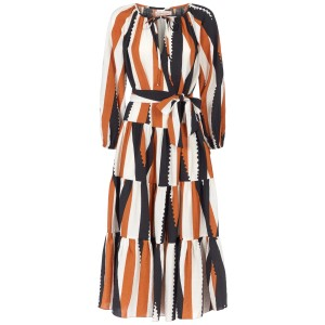 Traffic People Women Tiered long sleeve maxi dress in black and brown Summer SC436665