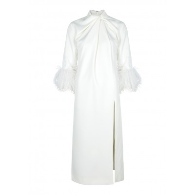 16 Arlington Women Fujiko white feather-trimmed midi dress SC403418