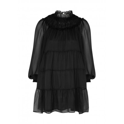 Alice + Olivia Kellyann black tiered silk-chiffon mini dress Plus Size Everyday SC414934