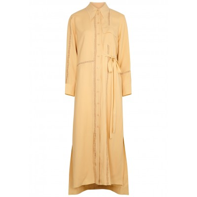 Chloé Women's Clothing Sand lace-trimmed shirt dress Plus Size SC427303