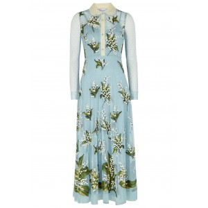 RED Valentino Women Blue floral-embroidered tulle midi dress Brand SC433061