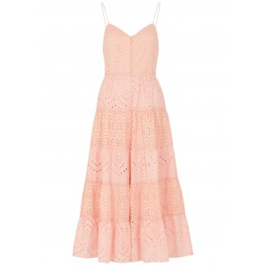 Alice + Olivia Outwear Shanti pink eyelet-embroidered cotton midi dress Party SC437221