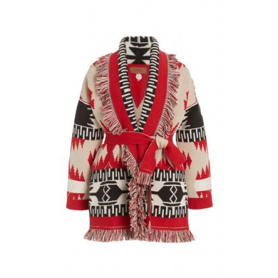 Alanui Women's Clothing Icon Fringed Cashmere-Wool Cardigan Red Basic For Sale