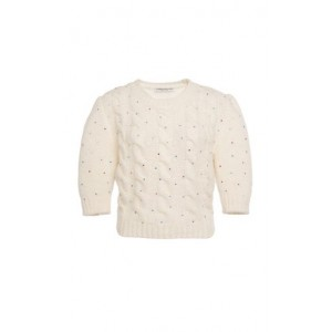 Alessandra Rich Girl's Embellished Alpaca-Blend Cable-Knit Cropped Sweater White Size XL Black Friday