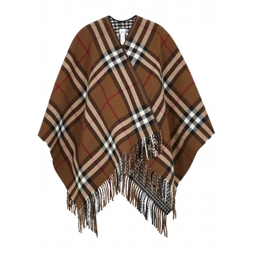 Burberry Women's Checked reversible wool cape Fine SC418223