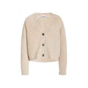 Ganni Women Clothing Cropped Wool-Blend Cardigan Top Neutral Discount