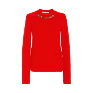 Givenchy Chain-Detailed Wool-Cashmere Sweater Red