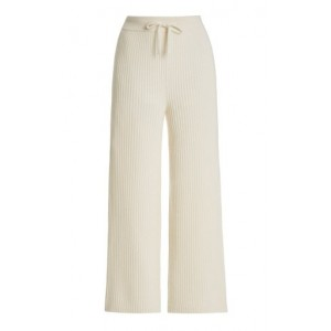 Lisa Yang Women Lucy Ribbed Cashmere Pants White Fine