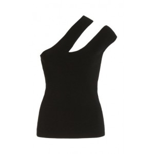 Nanushka Girl's Arlet Cutout Compact Knit One-Shoulder Top Black