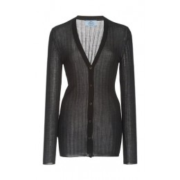 Prada Girl's Tops Ribbed Silk-Cashmere Knit Cardigan Black Unique